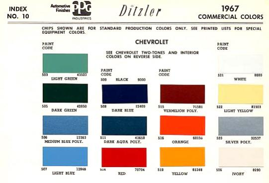 1967 Truck Paint Code Help The 1947 Present Chevrolet